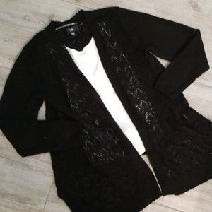 😎Black open stitch cardigan!